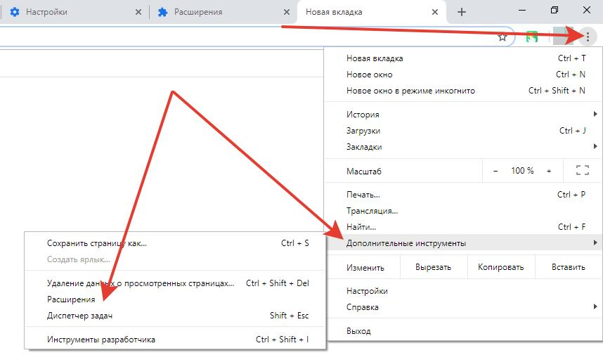 Отключения расширений в Google Chrome