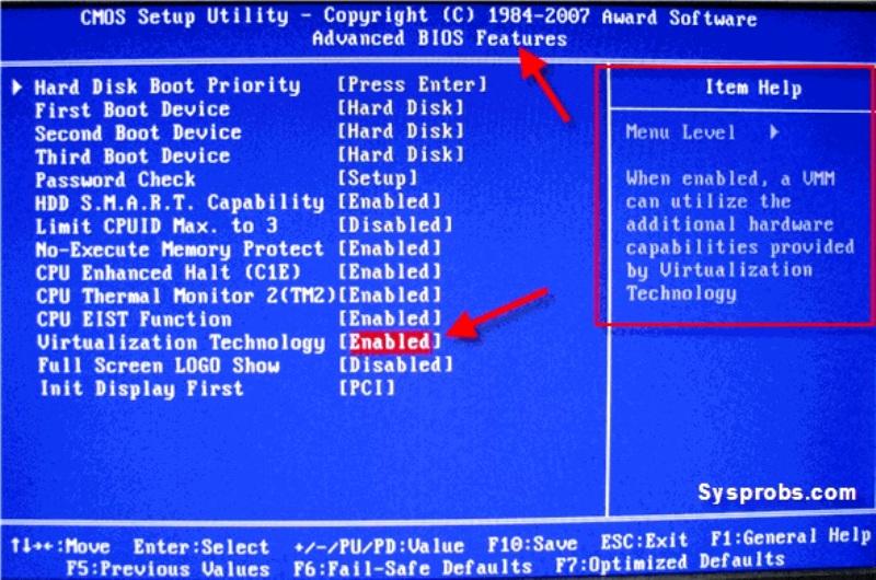 Включение виртуализации в BIOS