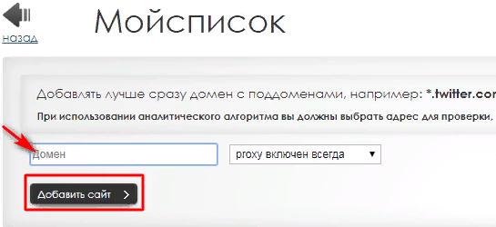 Указываем домен заблокированного сайта