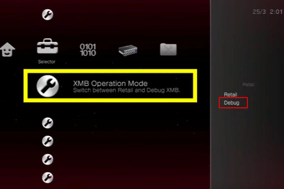 Заходим в раздел «XMB Operation Mode»