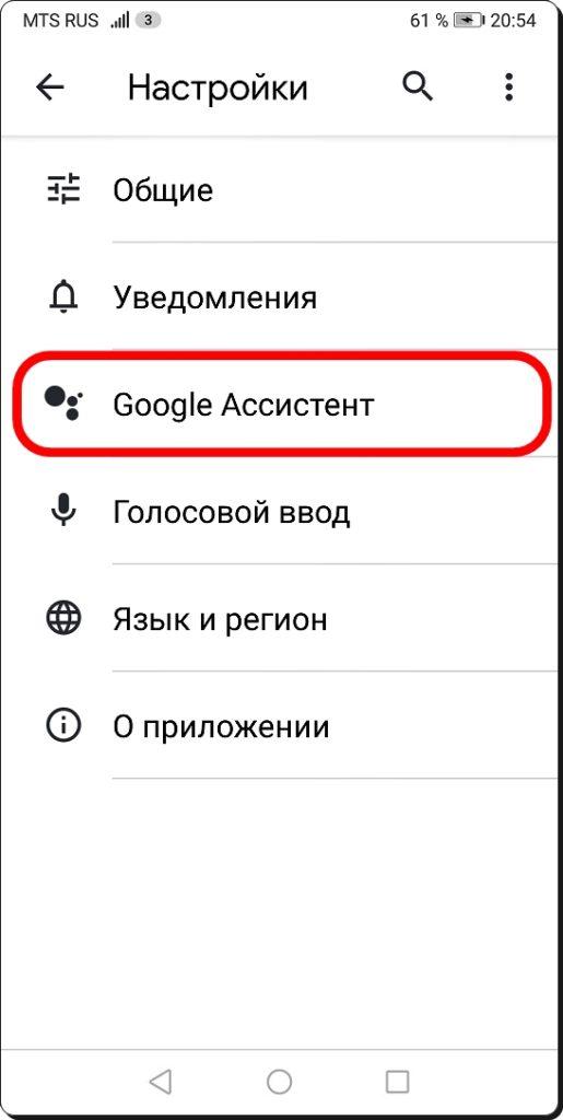Открываем вкладку «Google Ассистент»