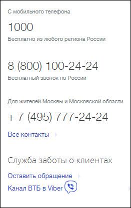 Телефоны сервисной поддержки