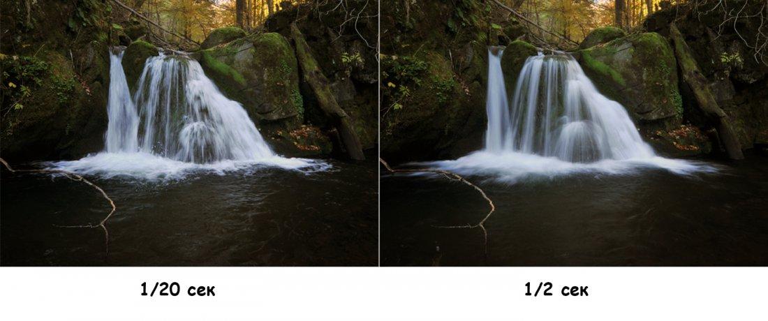 Пример одной фотографии, но с разной выдержкой