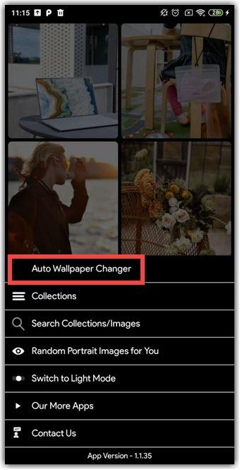 В меню выбираем «Auto Wallpaper Changer»