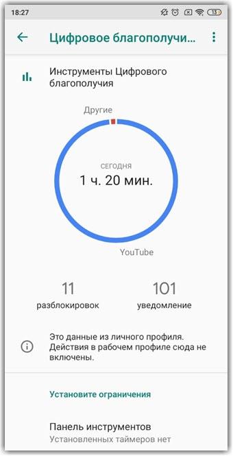 Информация об экранном времени