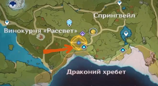 Расположение долины на карте