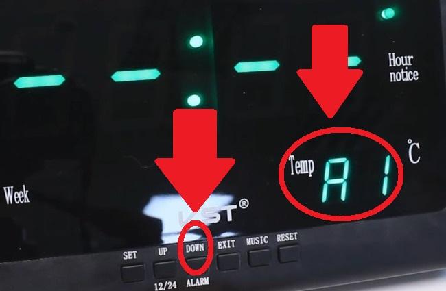 Отключение будильника на часах VST-802W