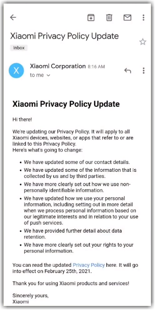 Письмо Xiaomi Privacy Policy update