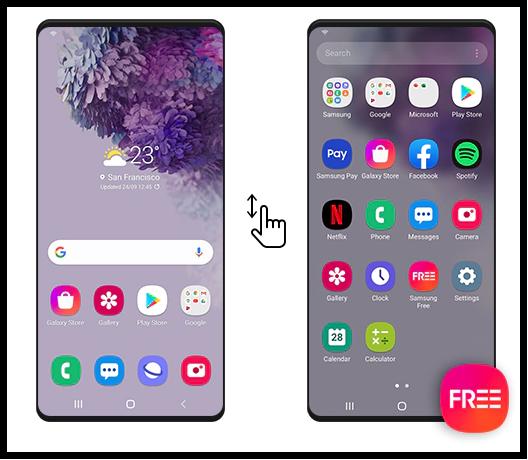 Находим приложение Samsung Free