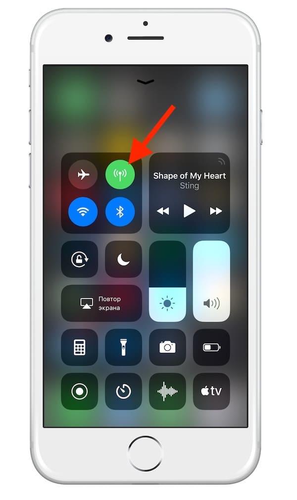 Включение/отключение интернета на iPhone