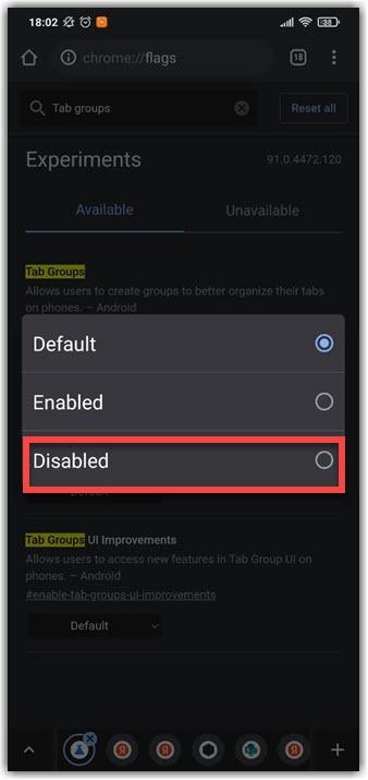 Выставляем значение Disabled