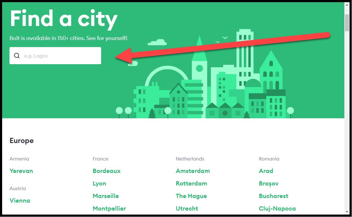 Находим свой город в списке
